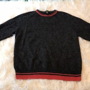 BANANA REPUBLIC CHARCOAL/CORAL RED SWEATER